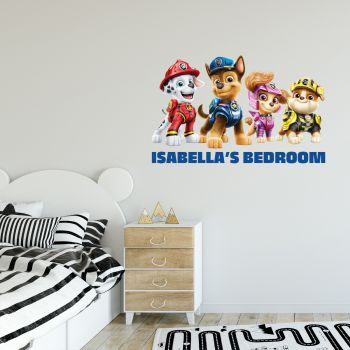 Paw Patrol Movie 4 Pups Personalised Name Wall Sticker