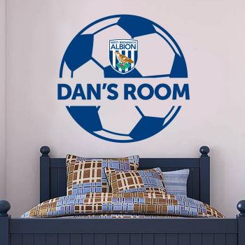 West Bromwich Albion Ball Design Personalised Name Wall Sticker Vinyl