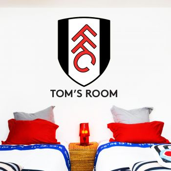 Official Fulham Personalised Name Crest Wall Sticker