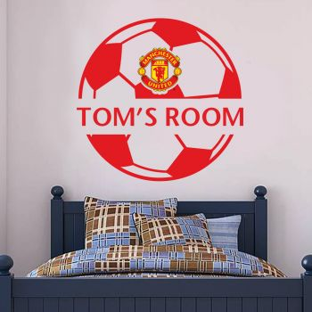 Manchester United Personalised Name and Ball Design Wall Sticker