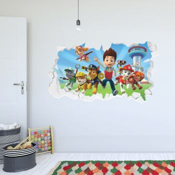 Paw Patrol Group With Ryder Broken Wall Sticker