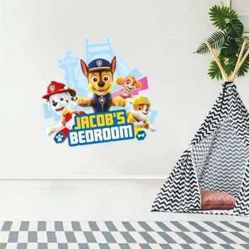 Paw Patrol Group Personalised Wall Sticker