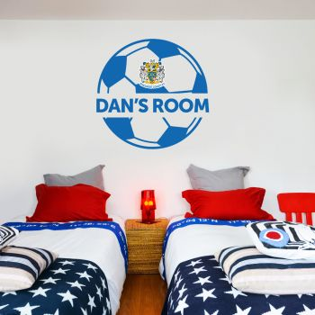 Official Stockport County Ball Design Personalised Crest Wall Sticker