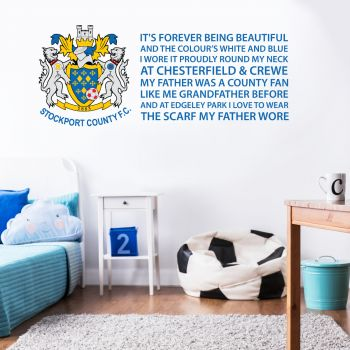 Official Stockport County Crest Scarf My Father Wore Song Wall Sticker