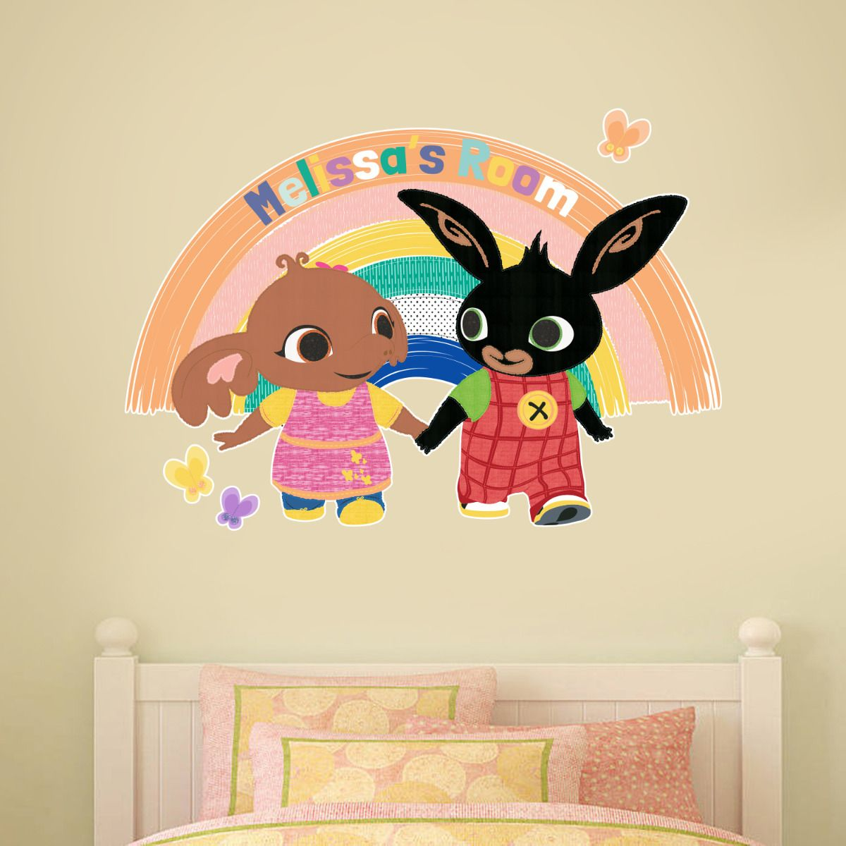 Bing Wall Sticker - Bing and Sula Rainbow Personalised name
