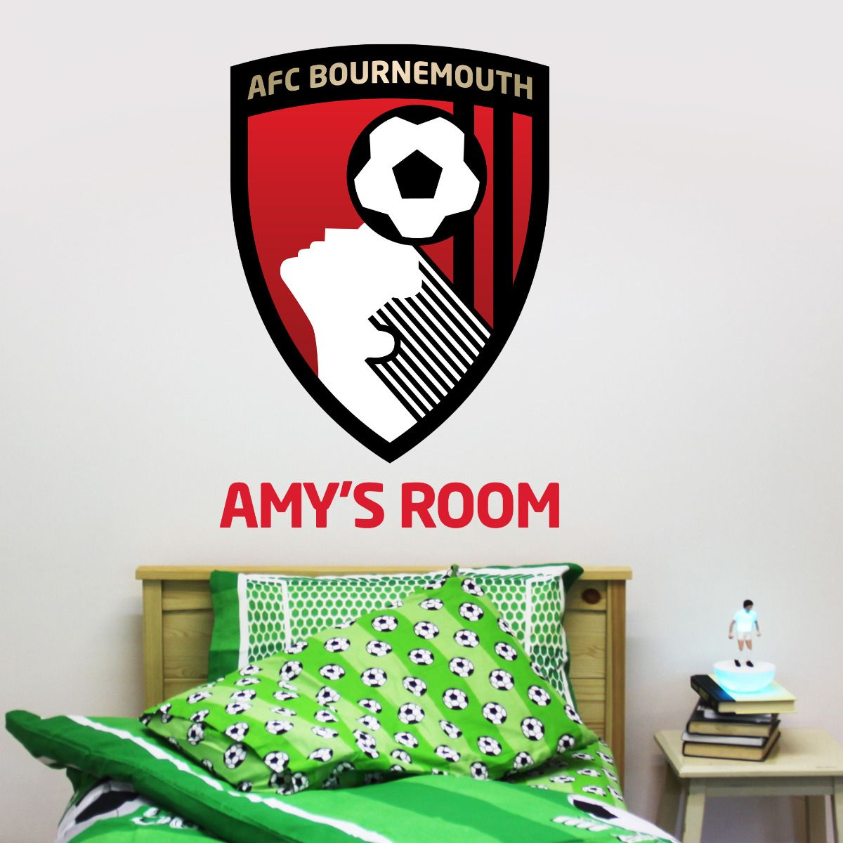AFC Bournemouth - Personalised Name & Club Badge Wall Mural + Cherries Wall Sticker Set