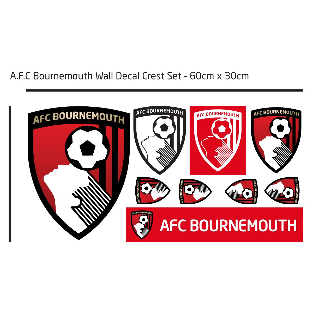 AFC Bournemouth - Personalised Name & Ball Design Wall Mural + Cherries Wall Sticker Set
