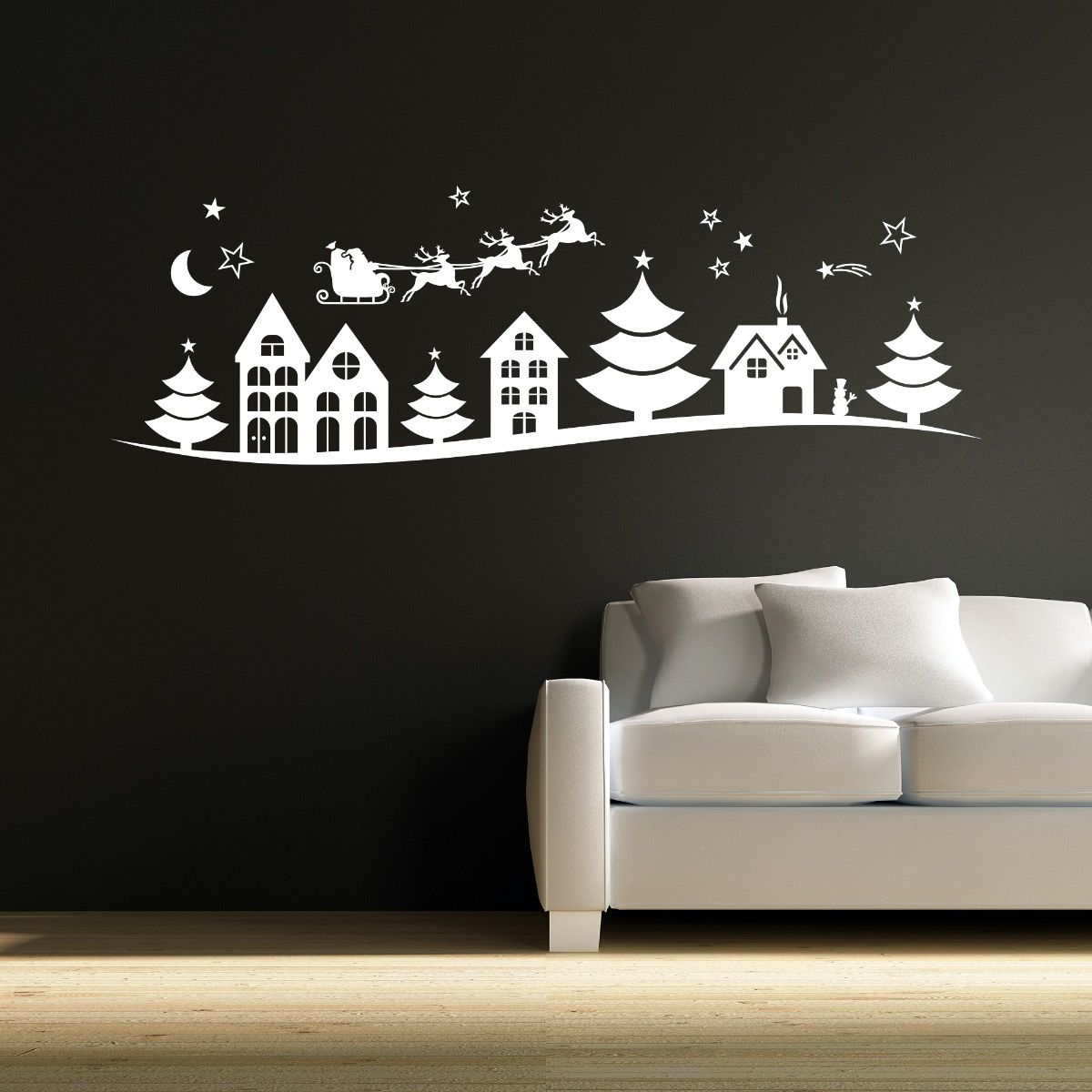 Christmas Town Silhouette Wall Sticker