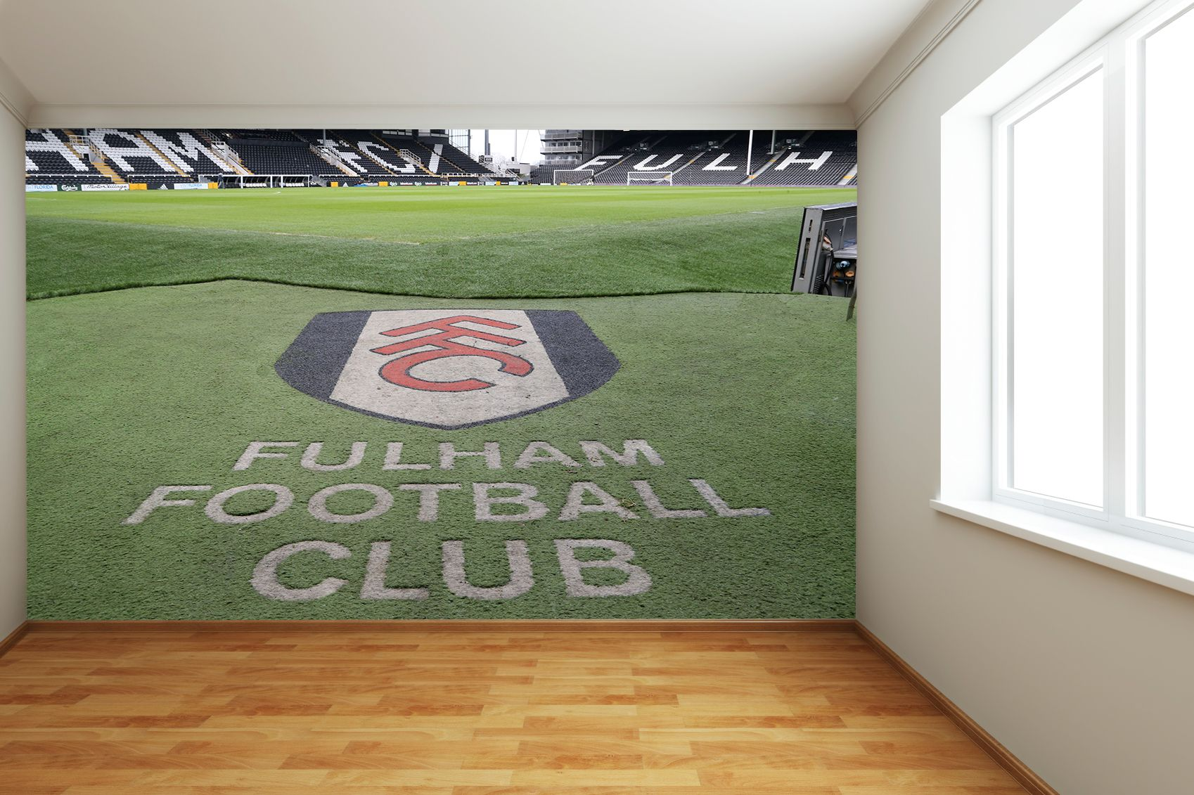 Fulham FC - Craven Cottage Stadium Full Wall Mural Pitch & Club Crest